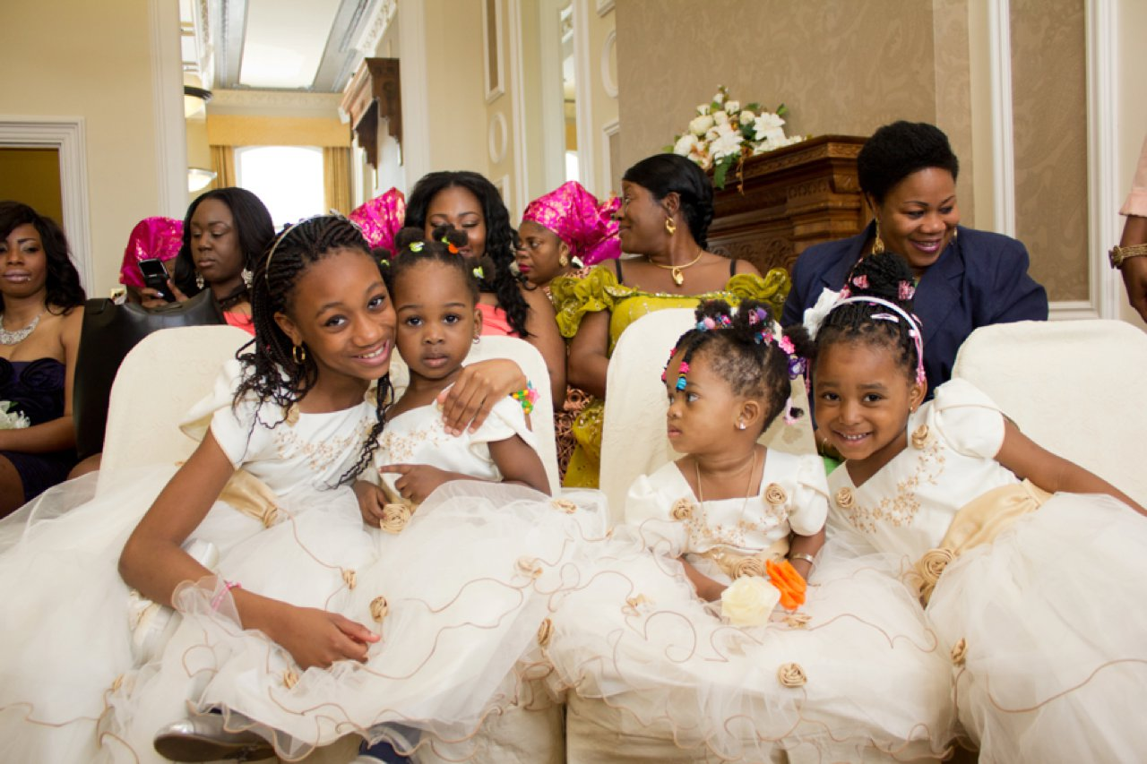 bridesmaids and flower girls