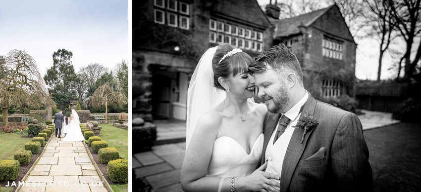 Bride and groom in front of Holdsworth House
