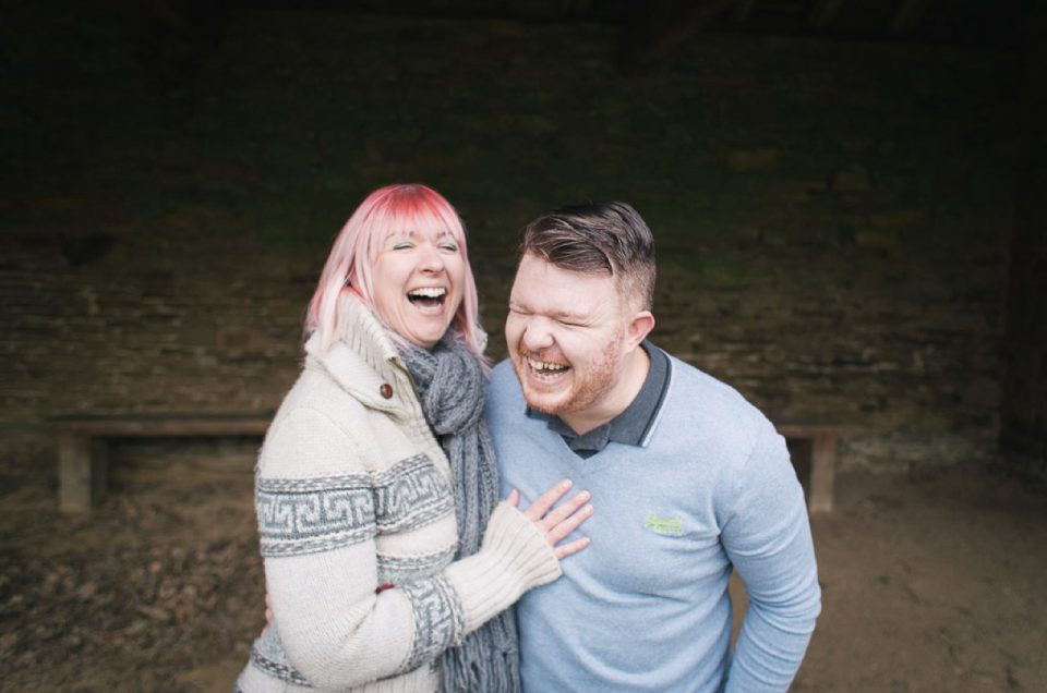 Laughing couple at Cannon Hall gardens, Yorkshire