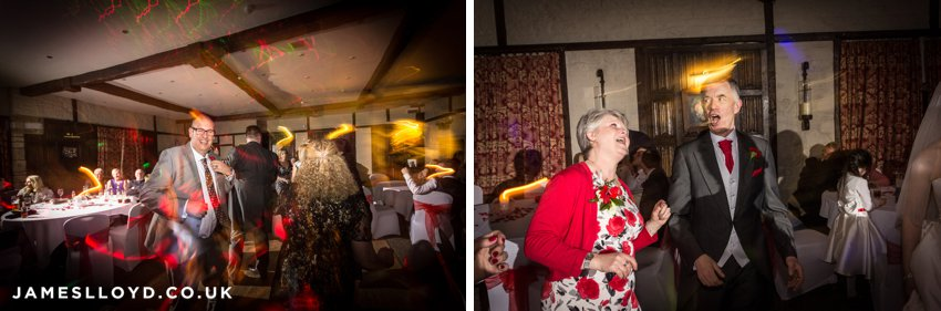 Dancing wedding guests at Holdsworth House Hotel