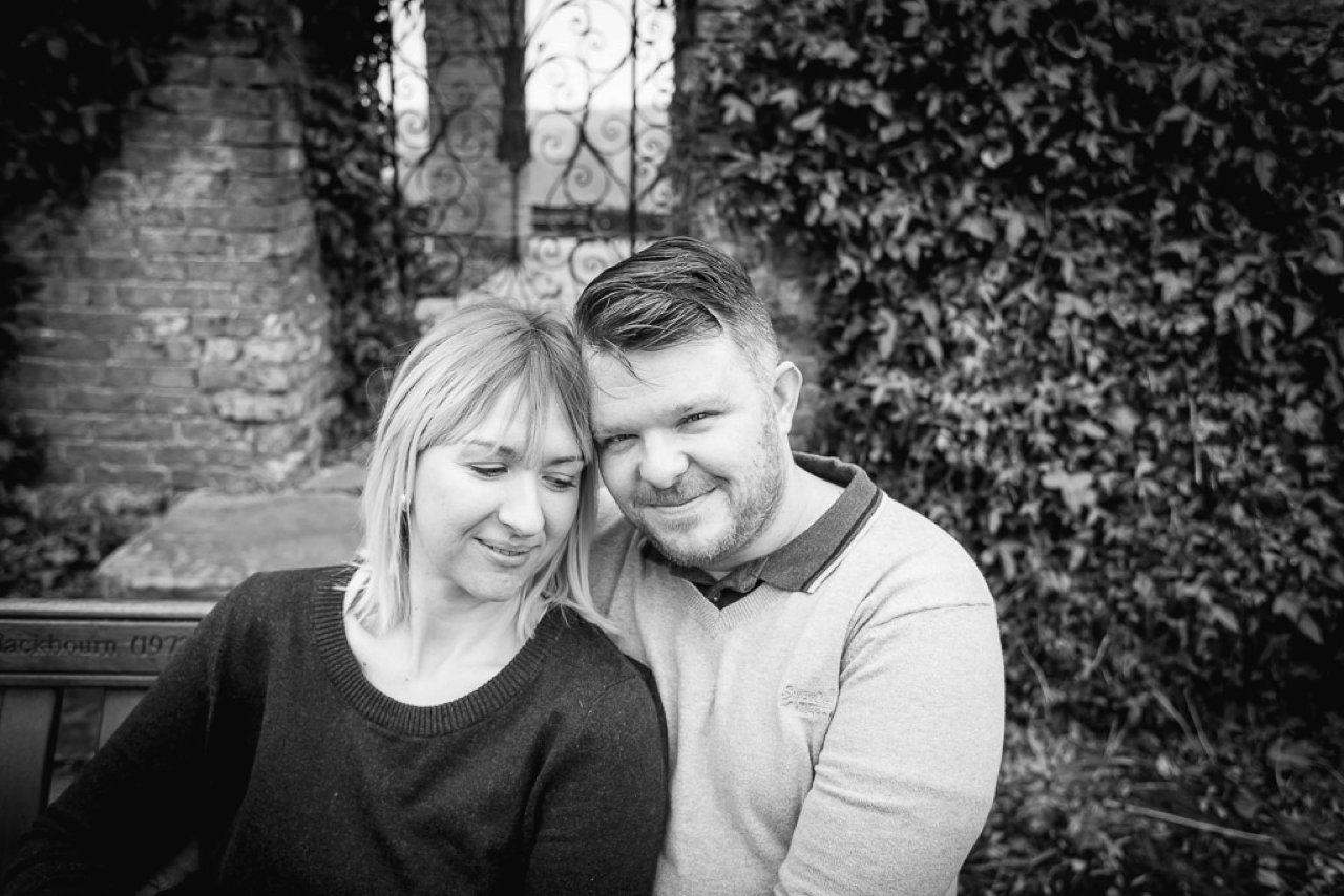 Couple in Cannon Hall Gardens, black and white