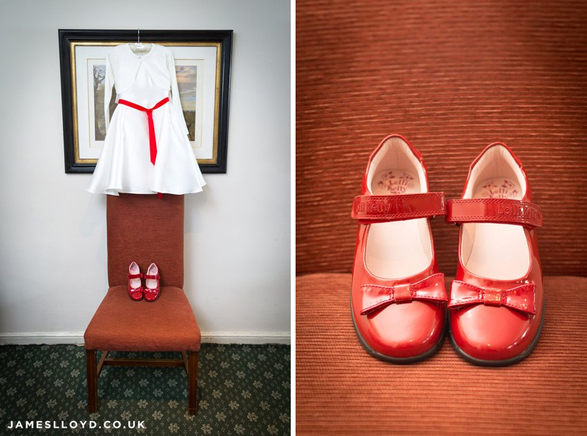 Bridesmaid dress and patent red shoes