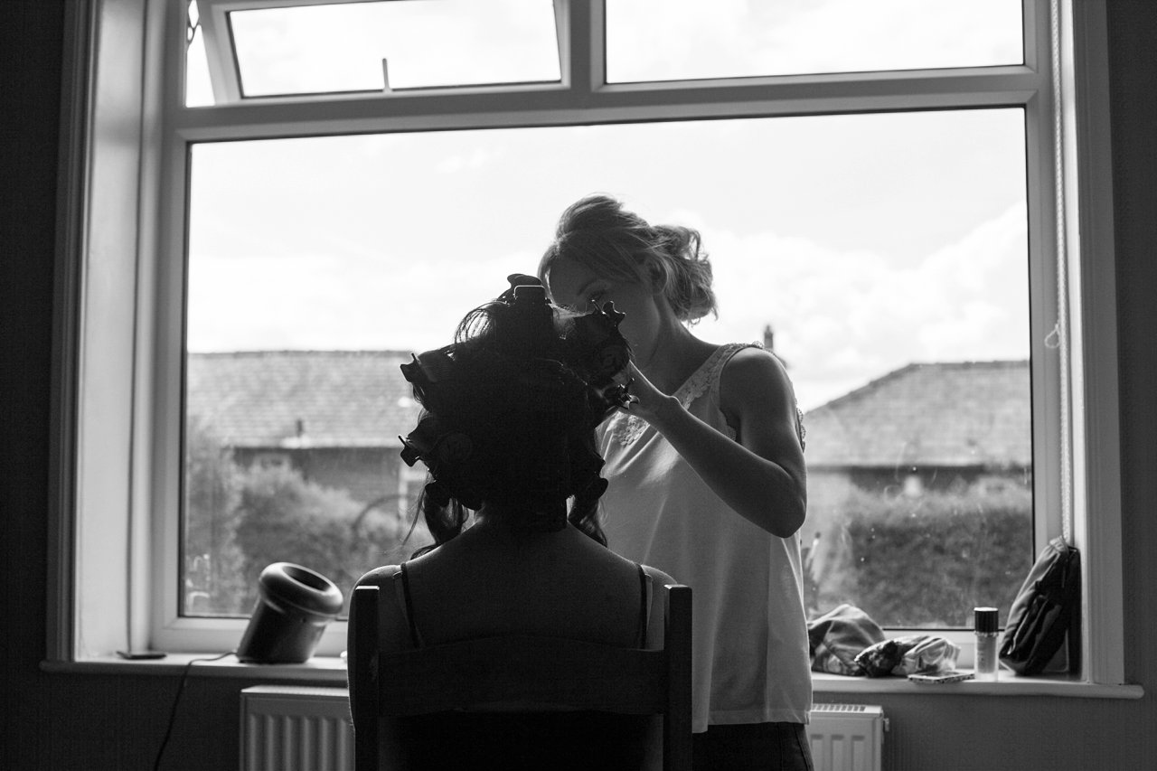 bride getting ready silhouette black and white