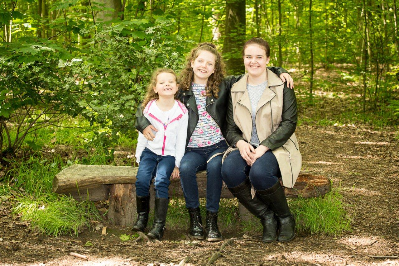 children sat on woodland bench