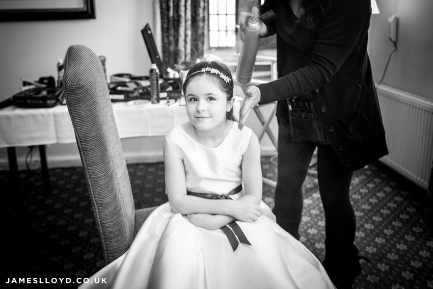 smiling young bridesmaid black and white