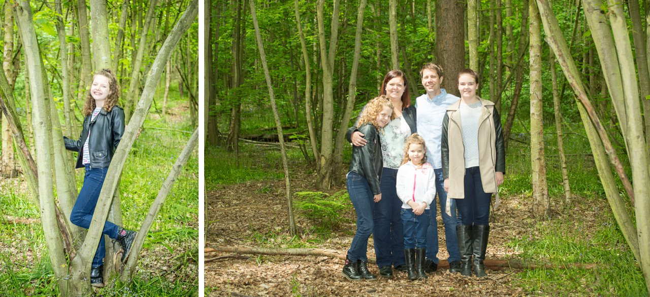 family in the woodland