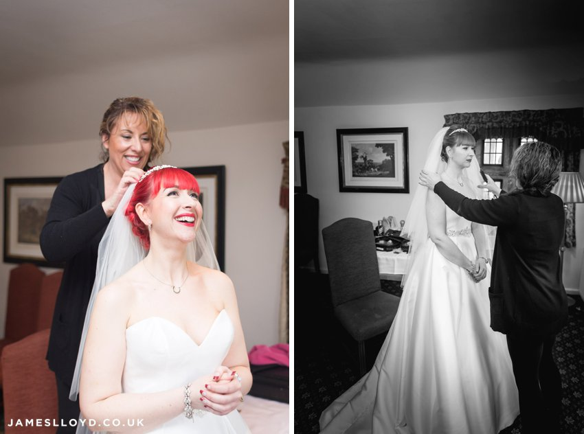 bride with red hair getting ready