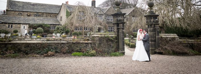 Wedding Couple outside Holdsworth House Halifax