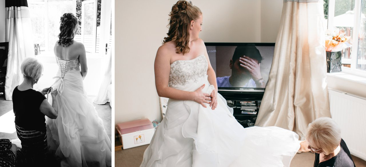 bride getting ready watching television
