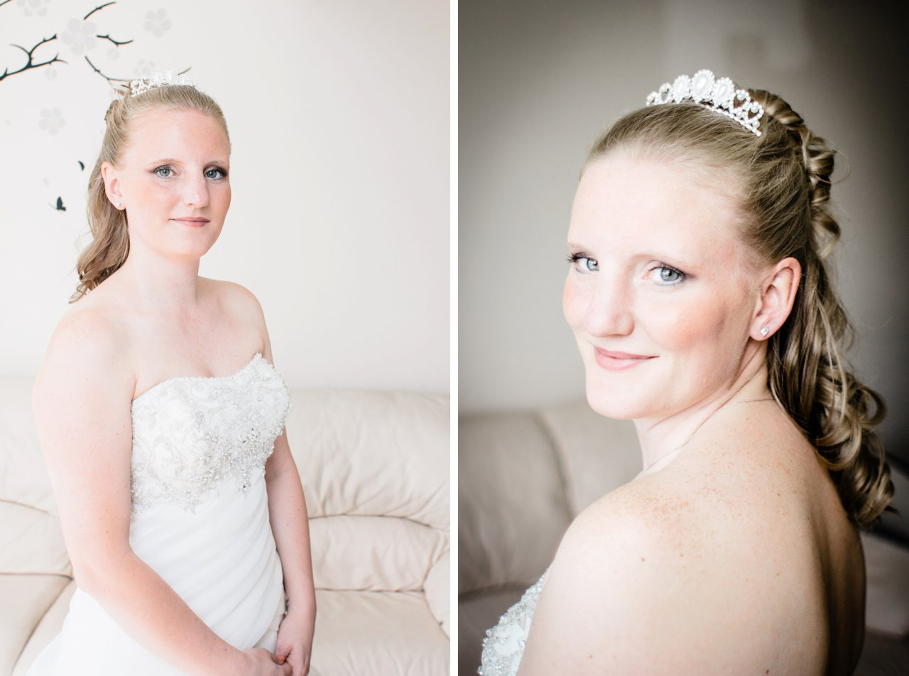 bridal portraits cream walls window light