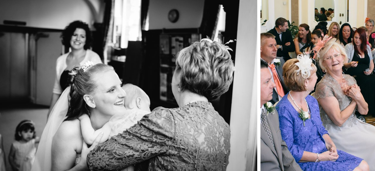 wedding guests greet bride emotional mother