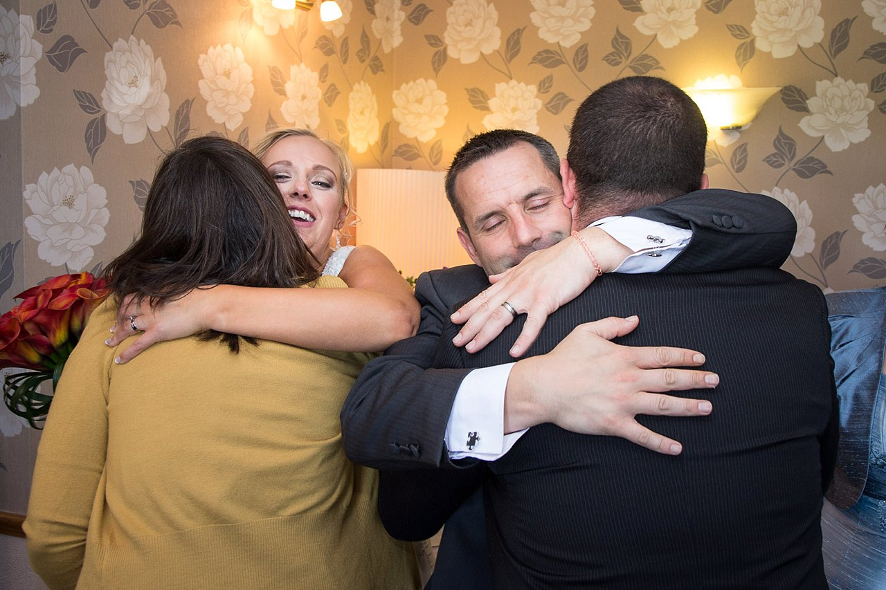 hugging the guests