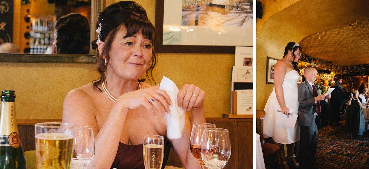 emotional bride listening to speeches