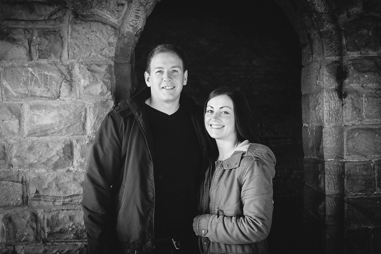 Couple engagement shoot black and white