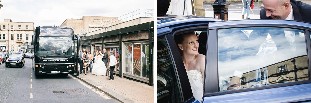 party bus and wedding car with bride in Hudderfield