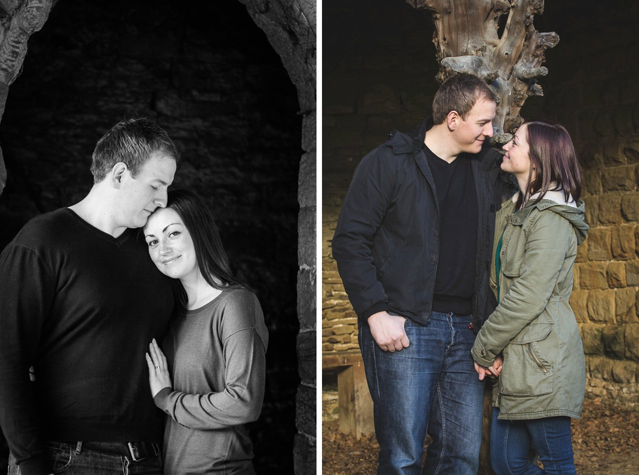 Engagement shoot against stone background