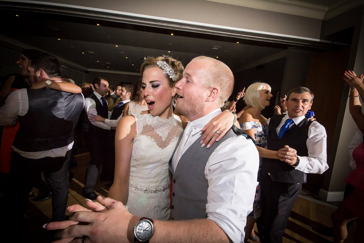 bride and groom partying