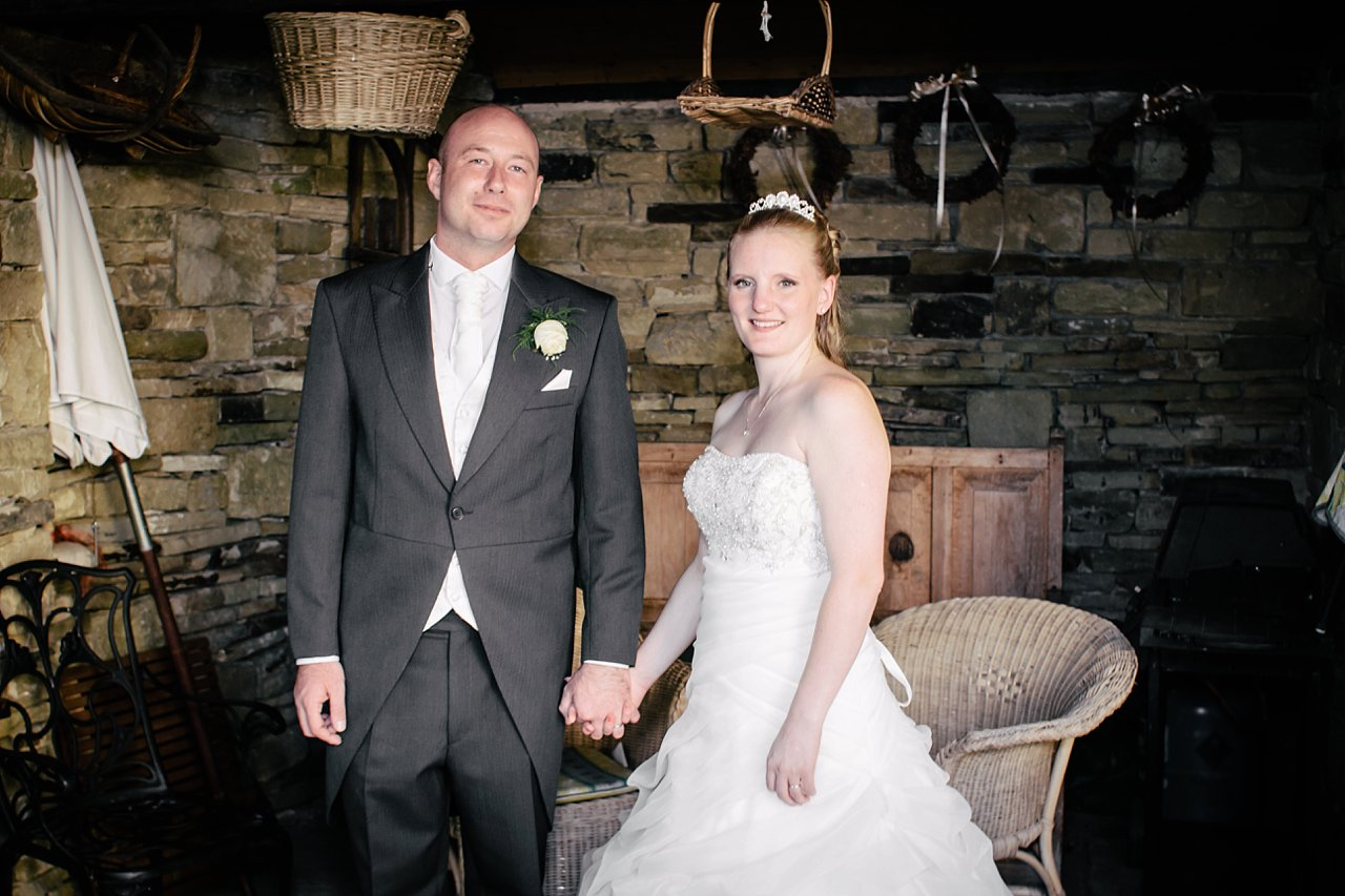 formal bride and groom in shelter