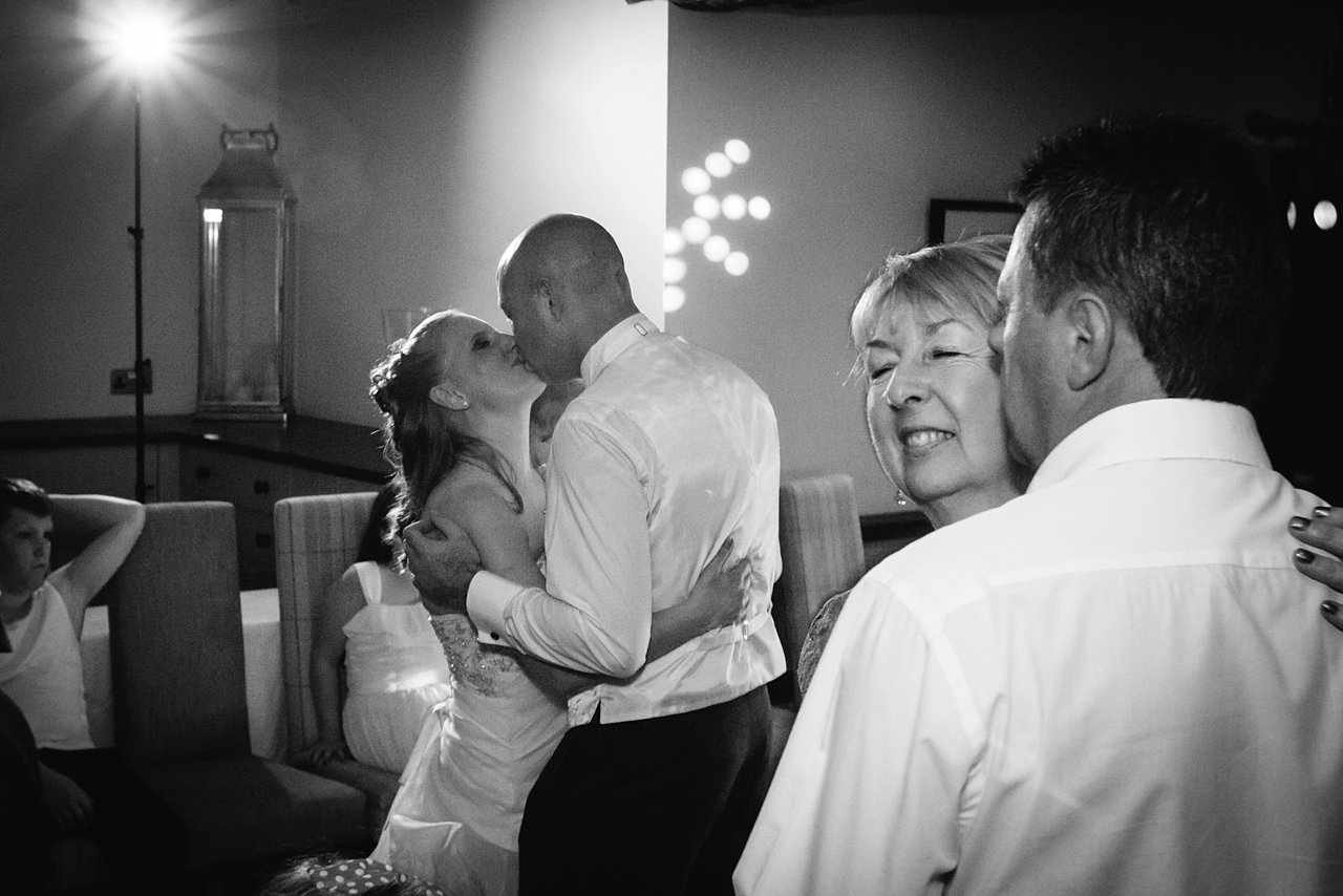 two couples dancing at Woodman Inn
