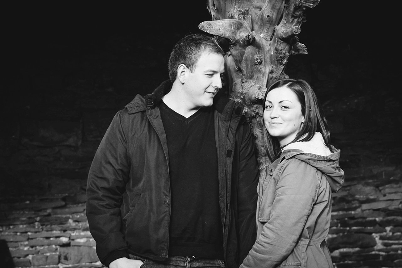 Engagement couple black and white portrait