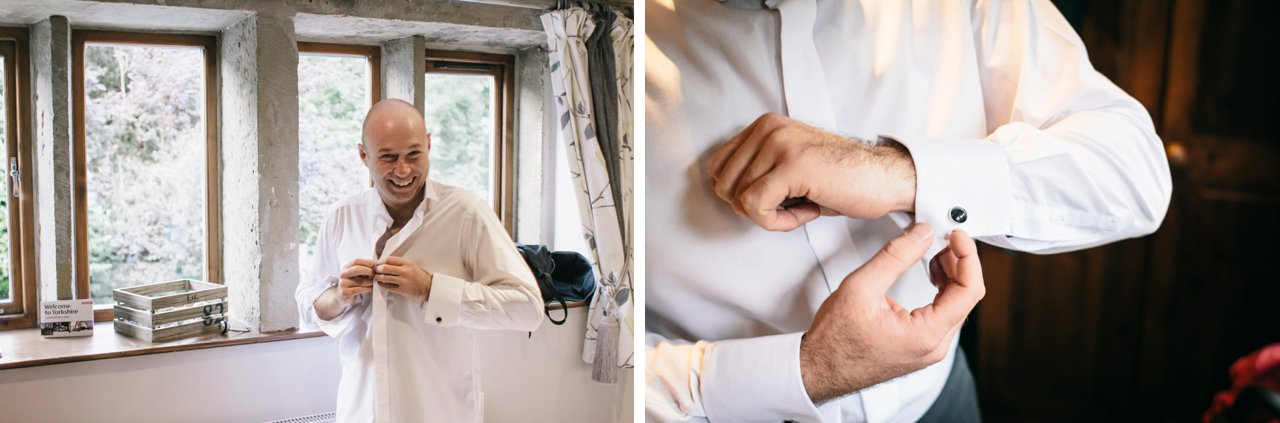 groom getting ready with cufflinks at Woodman Inn
