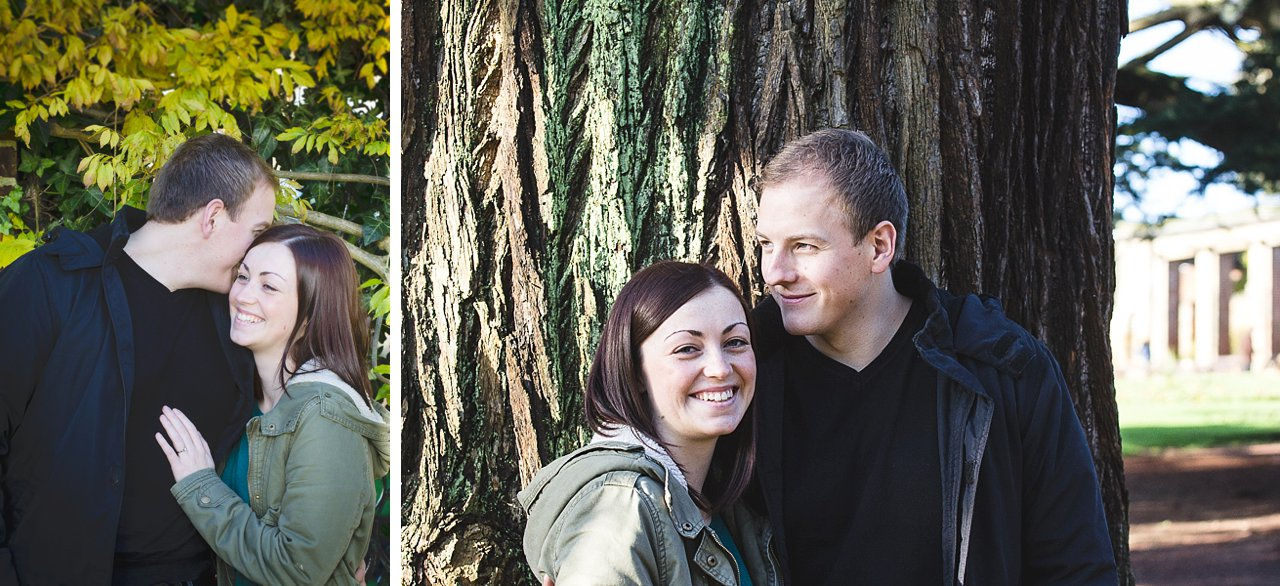 Couple portrait against tree