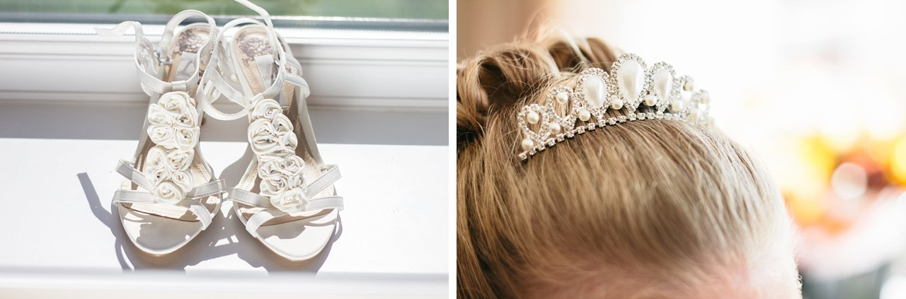 wedding shoes and tiara