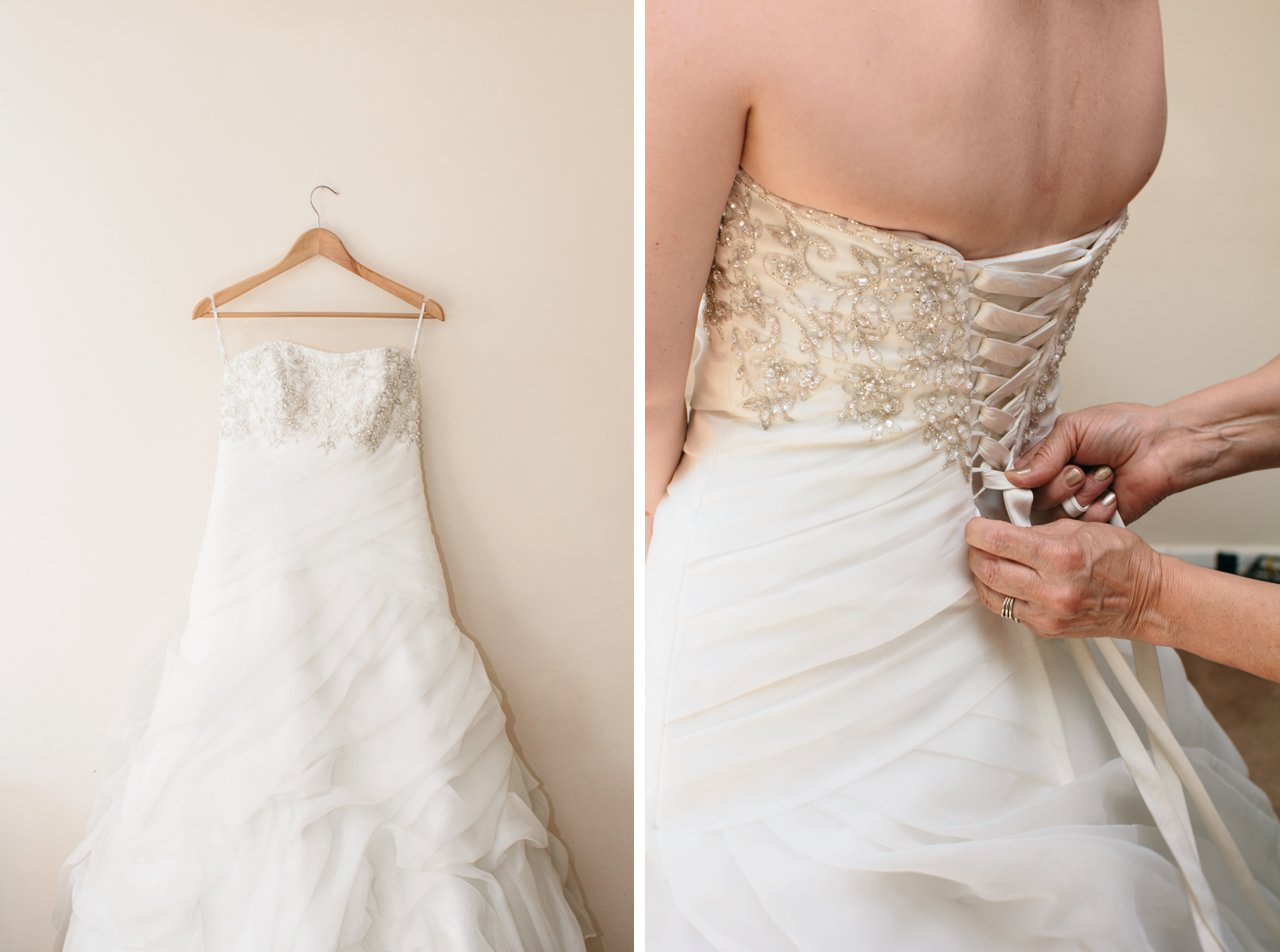 wedding dress and lacing up