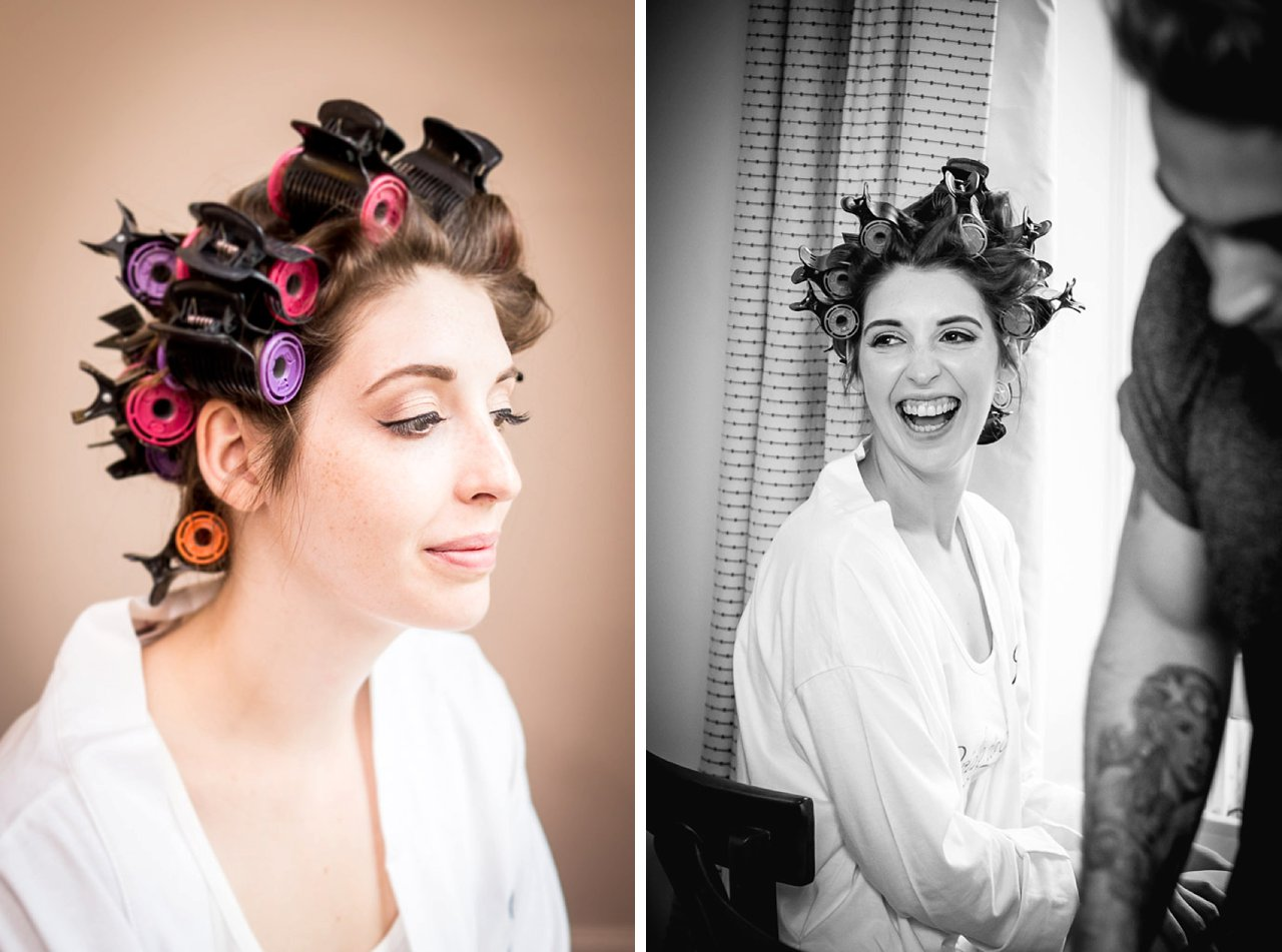 Bride laughing and in curlers