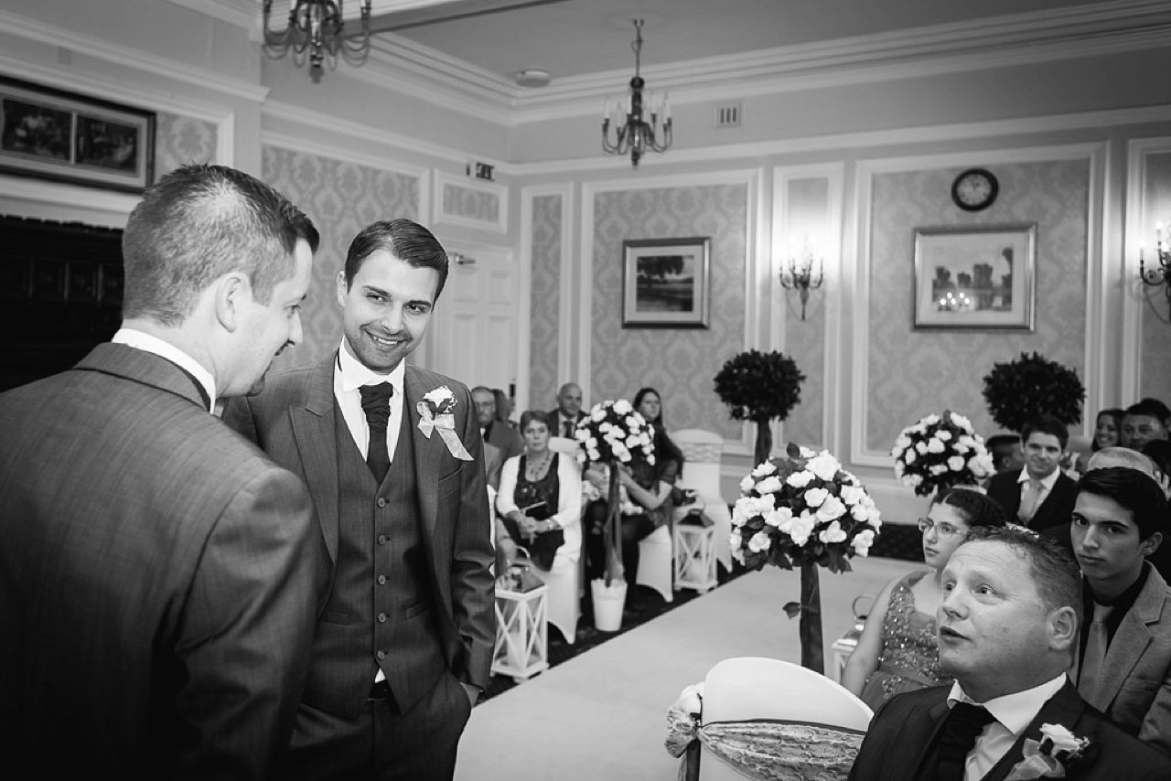 groom awaits bride at Old Swan Hotel Harrogate