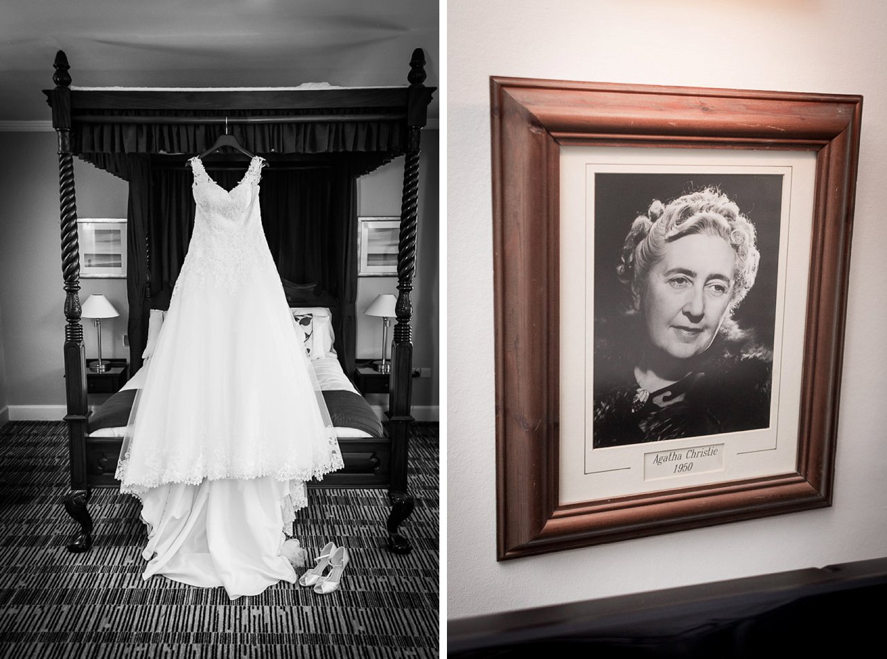 Agatha Christie photo and wedding dress handing from bed