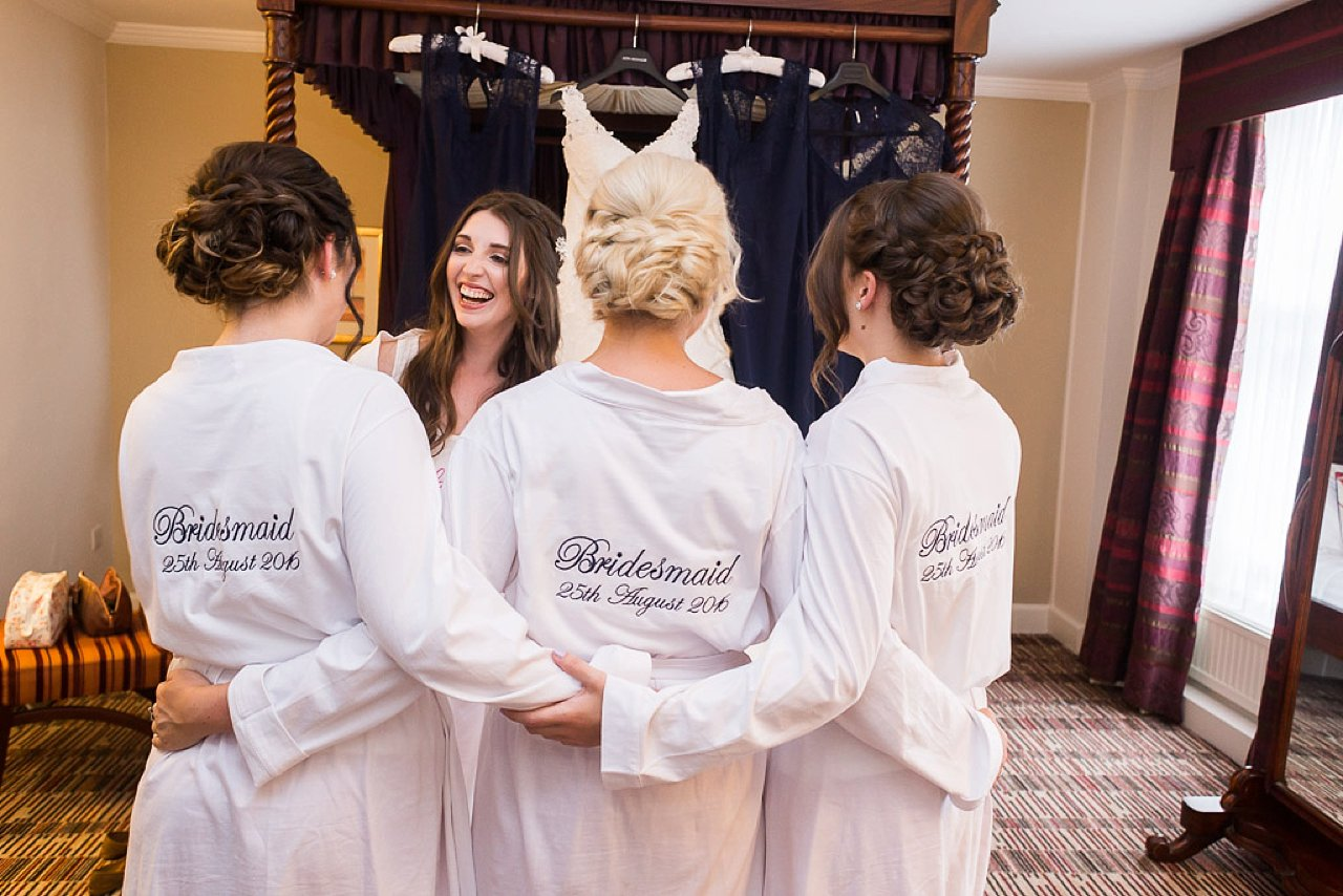 Bride and bridesmaids in dressing gowns