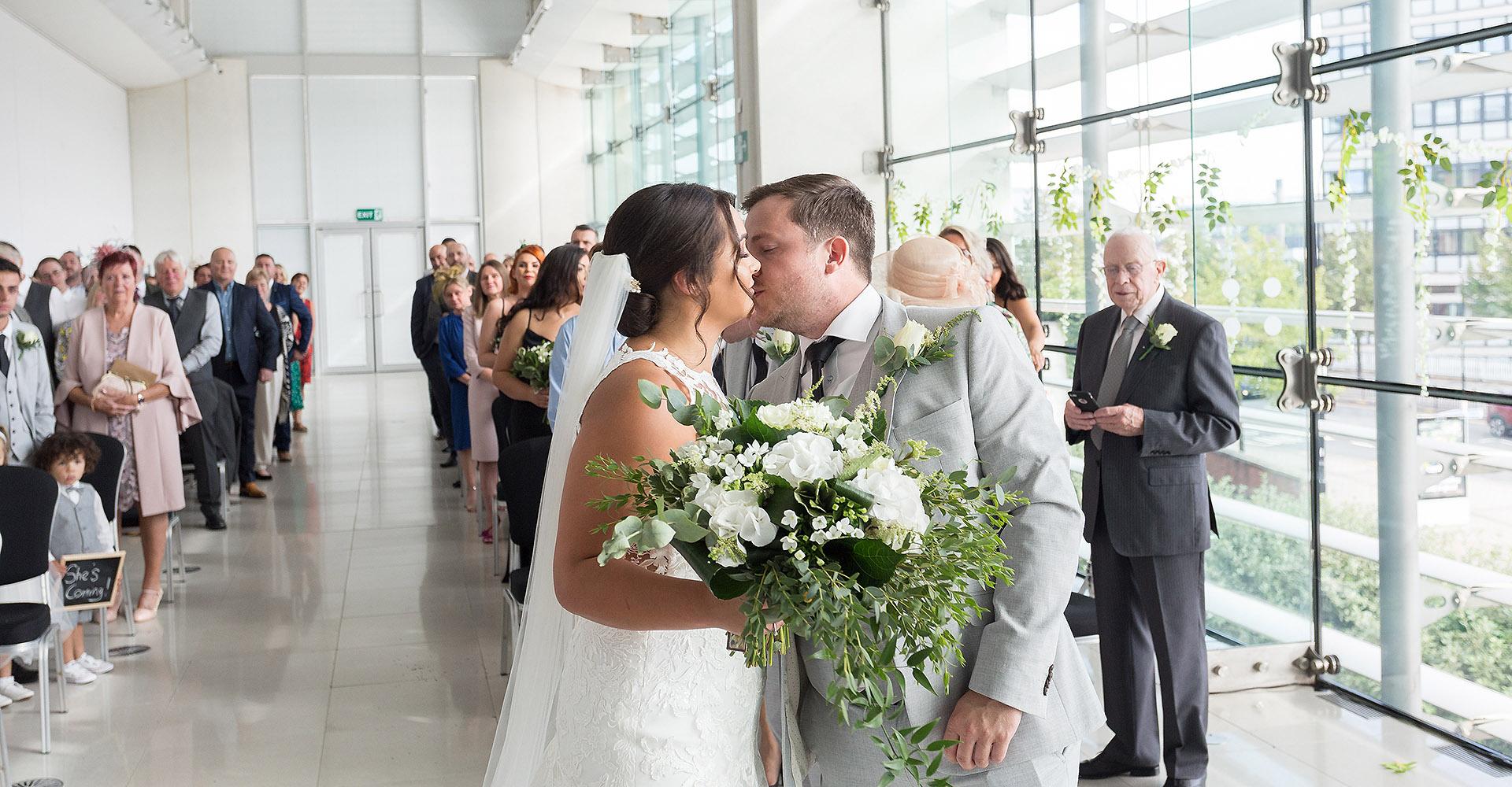 Bride and groom Millennium Gallery Sheffield
