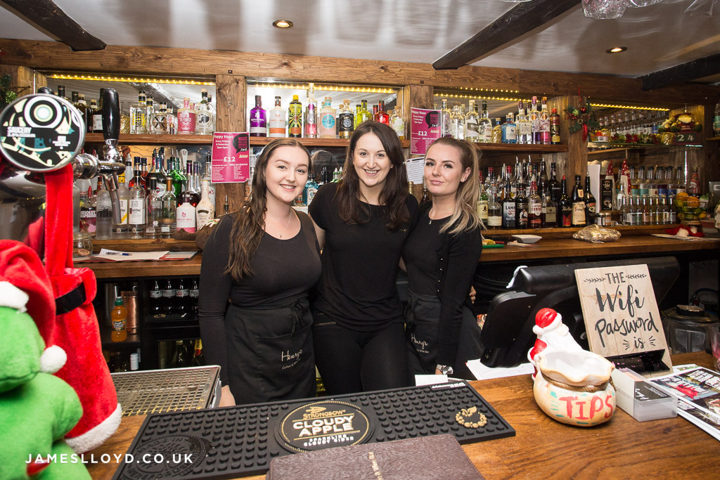 Staff at Henry's Wine Bar in Skelmanthorpe