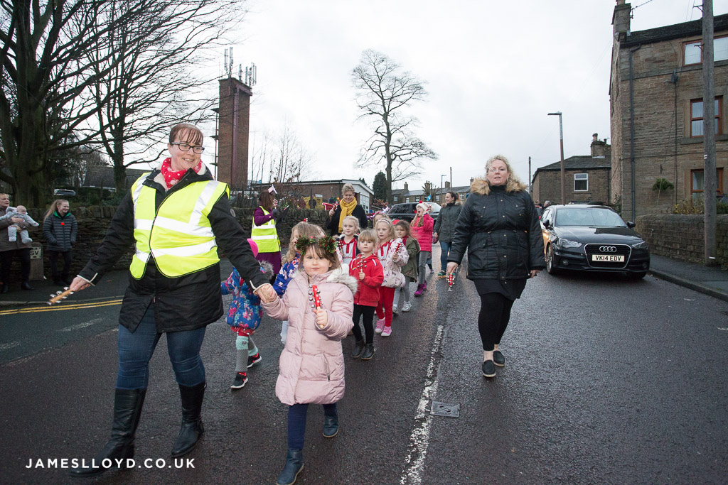 Procession of children in Skelmanthorpe