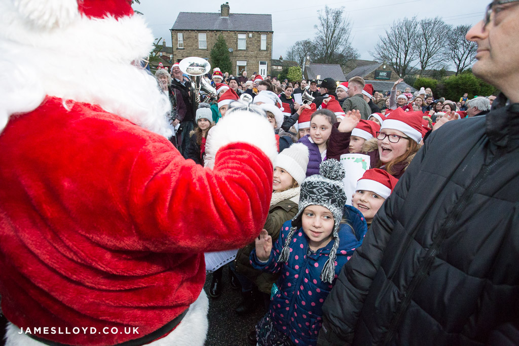 Children excited to see father christmas